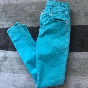 7 For All Mankind Blue Skinny Denim Jeans Size 25